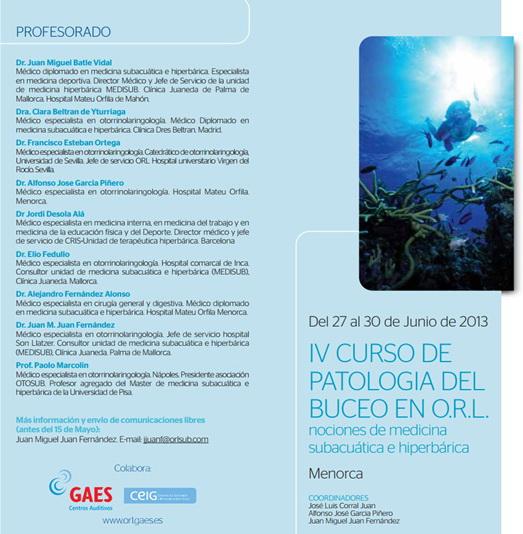 Programa del IV Curso de Patología del Buceo en ORL
