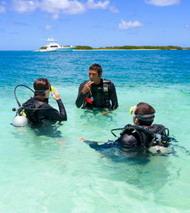 Buceadores realizando curso de iniciación al buceo tras haber obtenido su certificado medico de aptitud para actividades subacuáticas.